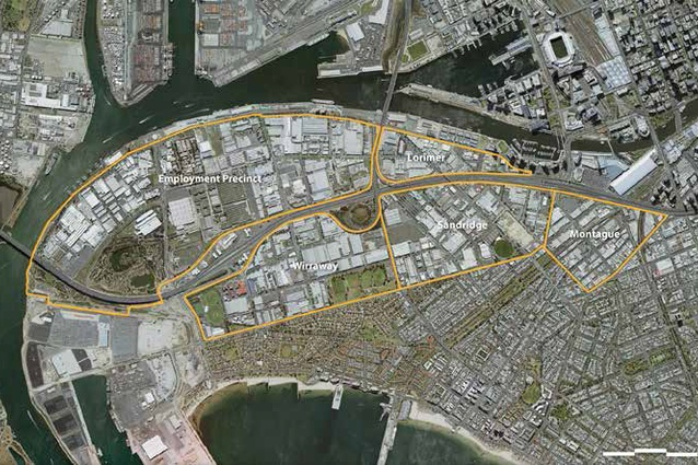 A map outlining the precincts in Fishermans Bend